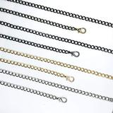 MELORDY 47'' 4Pcs Replacement Flat Chain Strap with Buckles, DIY Purse Metal Straps Shoulder Cross Body Replacement Straps (Gunmetal+Gold+Silver+Bronze)