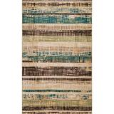 Blue Nile Mills Modern Stripe Indoor Area Rug Collection, Retro-Inspired Distressed Stripe Hallway Area Rug with Durable Jute Backing, 8' x 10', Chocolate