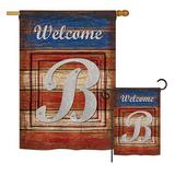 The Holiday Aisle® Boothbay 2 Piece Patriotic a Initial Americana Impressions Decorative Vertical 2-Sided Polyester Flag Set in Red/Blue/Brown