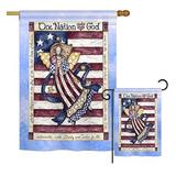 The Holiday Aisle® Garvan One Nation Under God Americana Patriotic Impressions 2-Sided Polyester 2 Piece Flag Set in Blue/Gray   Wayfair