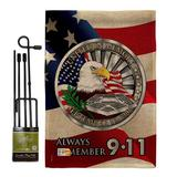 The Holiday Aisle® Chesapeake Always Remember Americana Patriotic Impressions 2-Sided Polyester 18.5 x 13 in. Flag Set in Black/Brown/Red   Wayfair