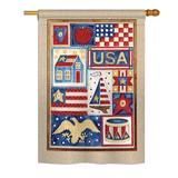 The Holiday Aisle® Fundy USA Collage Americana Everyday Patriotic Impressions 2-sided Polyester 40 x 28 in. House Flag in Blue/Brown   Wayfair