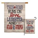 The Holiday Aisle® Effron This Home Star & Stripes Americana Patriotic Impressions 2-Sided Polyester 2 Piece Flag Set in Brown | Wayfair