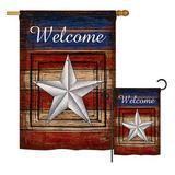 The Holiday Aisle® Reston Welcome Americana Patriotic Impressions 2-Sided Polyester 2 Piece Flag Set in Red, Size 28.0 H x 18.5 W in   Wayfair