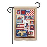 The Holiday Aisle® Lebranche USA Collage Americana Everyday Patriotic Impressions 2-Sided Polyester 19 x 13 in. Garden Flag in Brown   Wayfair