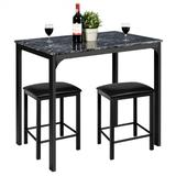 Costway 3 Piece Counter Height Dining Set Faux Marble Table-Black