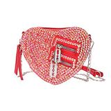 SP SOPHIA COLLECTION Women's Sweet Heart Zipper Chain Strap Crossbody Purse Bag in Red