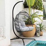 Swing Egg Chair with Stand Indoor Outdoor Wicker Rattan Patio Basket Hanging Chair with UV Resistant Cushions Aluminum Frame 350lbs Capaticy for Bedroom Balcony Patio (Gray)