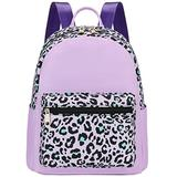 Mini Backpack Girls Water-resistant Small Backpack Purse Shoulder Bag for Womens Adult Kids School Travel (purple leopard)