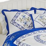 Ava Embroidered Cotton Sham by BrylaneHome in Cobalt Blue (Size KING)