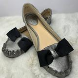 Kate Spade Shoes   Kate Spade Pewter Loafers With Black Bow Size 7   Color: Gray   Size: 7