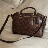 Michael Kors Bags | Mk Dark Chocolate Embossed Leather Satchel | Color: Brown | Size: Os