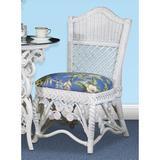 Rosalind Wheeler Stennett Upholstered Dining Chair Upholstered/Wicker/Rattan/Fabric in White, Size 38.75 H x 24.0 W x 21.75 D in | Wayfair