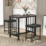 Red Barrel Studio® Ason 3 - Piece Counter Height Dining Set Wood/Metal/Upholstered Chairs in Black/Brown/Gray, Size 31.6 H x 23.6 W x 35.5 D in