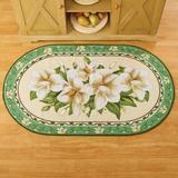 Red Barrel Studio® Oval Ezzah Floral Braided Beige/Green Area Rug Nylon in Green/White, Size 48.0 H x 29.0 W x 0.25 D in | Wayfair