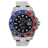 Time Warrior GMT Navy Seal Swiss Men's GMT Watch Black Dial, 316L CASE - Ceramic Bezel, Swiss Quartz Movement, Men's Watch Pro Diver Watch, Sapphire Glass (Red and Blue)