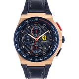 Chronograph Aspire Blue Leather & Silicone Strap Watch 44mm - Blue - Ferrari Watches