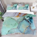 FOLPPLY Abstract Green Blue Purple Marble Art Duvet Cover Set, California King Bedding Set 3 Pieces, Comforter Sheet Set with Pillow Shams Room Decor for Boys Girls Teens Adults