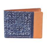 Cotton and leather batik wallet, 'Sandy Shores in Tan'