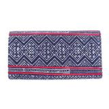 Cotton and leather batik wallet, 'Red Line'