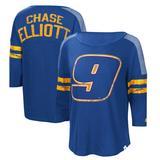 """""""Women's Starter Royal/Yellow Chase Elliott Highlight 3/4-Sleeve Scoop Neck T-Shirt"""""""