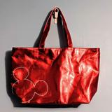 Disney Bags | Disney Parks Red Metallic Mickey Vegan Leather Tot | Color: Red | Size: Os