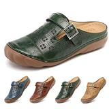 Clogs for Womens Summer Sandals Ladies Mule Clogs Backless Slippers Shoes Outdoor Closed Toe Clogs Beach Shoes Comfort Slip On Wedges Hollow Out Garden Mules Casual Anti Slip Loafer Flat Green 6