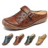 Clogs for Womens Summer Sandals Ladies Mule Clogs Backless Slippers Shoes Outdoor Closed Toe Clogs Beach Shoes Comfort Slip On Wedges Hollow Out Garden Mules Casual Anti Slip Loafer Flat Brown 7.5