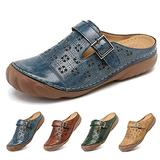 Clogs for Womens Summer Sandals Ladies Mule Clogs Backless Slippers Shoes Outdoor Closed Toe Clogs Beach Shoes Comfort Slip On Wedges Hollow Out Garden Mules Casual Anti Slip Loafer Flat Blue 6