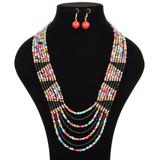 Ella & Elly Women's Earrings Multi-color - Red & Blue Abstract Beaded Layered Necklace & Earrings
