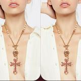 Free People Jewelry   Free People Cross Necklace   Color: Gold/Red   Size: Os