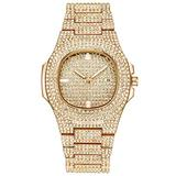 Hip Hop Miami Curb Cuban Chain Gold Iced Out Paved Rhinestones CZ Bling for Men Jewelry Watch (Gold)