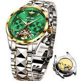 Swiss Made Green Mens Watches Luxury Automatic Mechanical Chronograph Flywheel Gold and SilverTungsten SteelWrist Watches Sapphire Crystal Waterproof 50M Swiss Luminous Oupinke Brand Watches