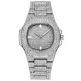 Hip Hop Miami Curb Cuban Chain Gold Iced Out Paved Rhinestones CZ Bling for Men Jewelry Watch (Silver)