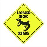SignMission Leopard Gecko Crossing Sign Zone Xing Tall Reptile Lizard Cage Food Plastic in Black/Yellow, Size 12.0 H x 12.0 W x 0.01 D in | Wayfair