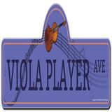SignMission Viola Player Street Sign Funny Home Decor Plastic in Indigo, Size 6.0 H x 18.0 W x 0.2 D in | Wayfair P-618 Viola Player