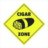 SignMission Cigar Crossing Sign Zone Xing Tall Smoker Box Cuban Cigars Shop Lover Cuba Tobacconist Smoking Plastic in Black/Yellow | Wayfair