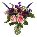 """Rachel Cho Floral Design Grape Bubblegum with Vase - Fresh Flowers for Delivery - Fresh Cut Flower Arrangement - Floral Arrangement - Flower Bouquet - Spring Flowers - (Approx. 4 lbs. 15"""" x 9"""")"""
