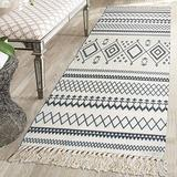 USTIDE Cotton Rug Runner, Machine Washable 2.3'x 6' Extra Long Printed Grey White Cotton Area Rug with Tassels Hand Woven Cotton Rag Rug Floor Carpet for Living Room/Kitchen/Laundry Room
