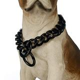 UTOPIAY 19mm Black Dog Chain Collar Stainless Steel Hip Hop Pet 316L Choker Collar Cuban Curb Necklace Training Slip Collar 16-28 inches,24inch