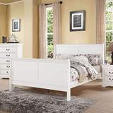 Benzara Wooden Queen Size Sleigh Bed, White