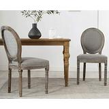 Guyou Retro French Round Back Dining Chairs Set of 2 Upholstered Linen Kitchen Chairs, Distressed Wood Chairs for Dining Room/Living Room/Bedroom (Dark Grey)