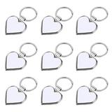 EXCEART 10pcs Heat Transfer Keychain Sublimation Blank Love Keyrings Blank Heart Pendant Keychain for DIY Craft Supplies