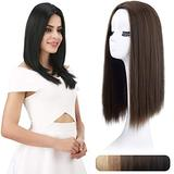 """REECHO 18"""" Synthetic Hair Topper Wiglet Hair Enhancer with 3 Clips in Straight Hair Extensions Hair Closure Piece Hairpieces for Women - Ginger Brown"""