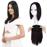 """REECHO 12"""" Synthetic Hair Topper Wiglet Hair Enhancer with 3 Clips in Straight Hair Extensions Hair Closure Piece Hairpieces for Women - Black Brown"""