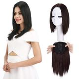 """REECHO 12"""" Synthetic Hair Topper Wiglet Hair Enhancer with 3 Clips in Straight Hair Extensions Hair Closure Piece Hairpieces for Women - Dark Brown"""