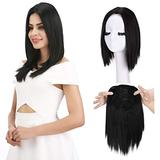 """REECHO 12"""" Synthetic Hair Topper Wiglet Hair Enhancer with 3 Clips in Straight Hair Extensions Hair Closure Piece Hairpieces for Women - Natural Black"""