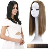 """REECHO 18"""" Synthetic Hair Topper Wiglet Hair Enhancer with 3 Clips in Straight Hair Extensions Hair Closure Piece Hairpieces for Women - Dark Ash Blonde"""