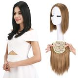 """REECHO 12"""" Synthetic Hair Topper Wiglet Hair Enhancer with 3 Clips in Straight Hair Extensions Hair Closure Piece Hairpieces for Women- 27/613"""