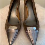 Coach Shoes | Coach Zan Brown Suede Pump Metallic Silver 9.5 | Color: Brown/Silver | Size: 9.5